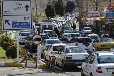 Nowruz holiday traffic jam in Iran. March 2021