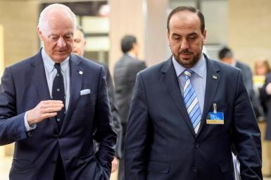 استفان دیمیستورا و نصر حریری، رهبر مخالفان اسد