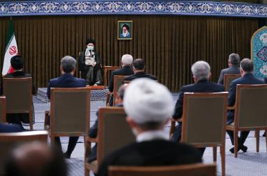 Iran's Supreme Leader Ali Khamenei's last meeting with the Rouhani government. July 28, 2021