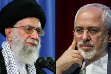 Iran's Supreme Leader Khamenei and Foreign Minister Javad Zarif. Combo FILE