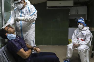 Covid testing in a Tehran hospital in Iran. FILE