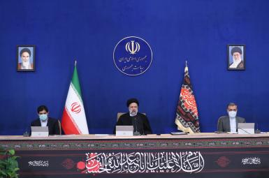 Iran's president Ebrahim Raisi at his first cabinet meeting. August 26, 2021