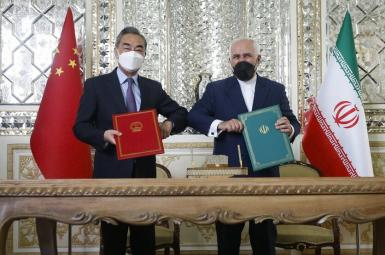 Chinese and Iranian foreign minister concluding long-term deal in Tehran. March 27, 2021