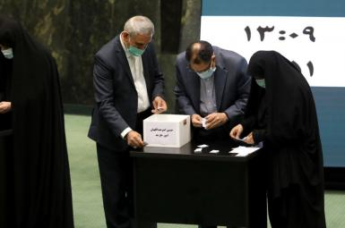 Lawmakers counting votes cast for foreign minister Hossein Amir-Abdollahian. August 25, 2021