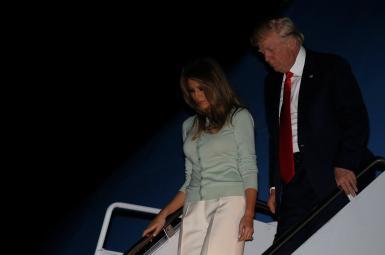 دونالد و ملانیا ترامپ در بازگشت به ایالات متحده