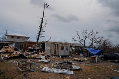 یک خانه خسارتدیده از طوفان ایرما در ایالت فلوریدا