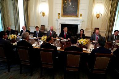دونالد ترامپ  و نمایندگان اعضای شورای امنیت سازمان ملل