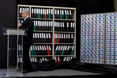 نمایش اسناد هستهای بهسرقترفته از ایران، ازسوی بنیامین نتانیاهو، نخستوزیر اسرائیل