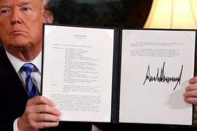 امضای خروج آمریکا از برجام، ازسوی دونالد ترامپ