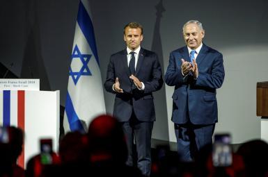 بنیامین نتانیاهو، نخستوزیر اسراییل و امانوئل مکرون، رییس جمهوری فرانسه
