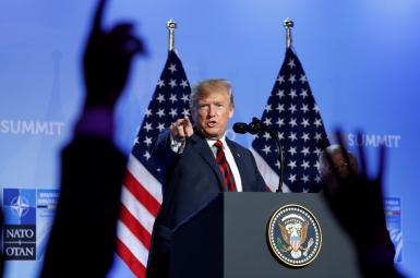 دونالد ترامپ در نشست خبری در بروکسل
