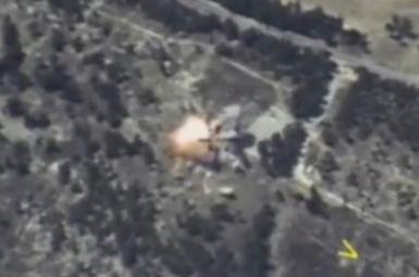 تصویر هوایی منتشرشده از حملات موشکی به ادلب