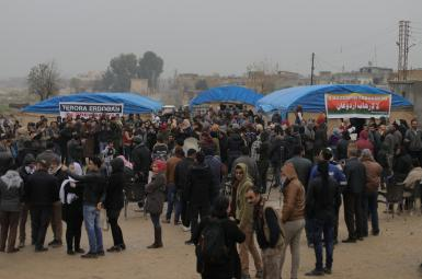 تجمع در شهر کردنشین سریکانی (رأسالعین) در اعتراض به تهدید ترکیه برای حمله به شمال سوریه