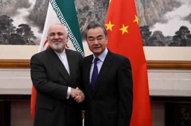 Foreign Minister Mohammad Javad Zarif with his Chinese counterpart. FILE