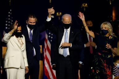 President Joe Biden and VP Kamala Harris after victory in November 2020 election.