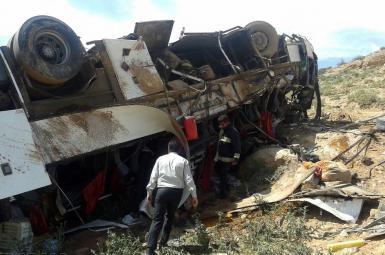 ۲۸ کشته و مجروح در واژگونی اتوبوس تبریز-تهران