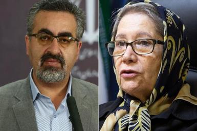 Iran FDA spokesman Jahanpour (L) and Dr. Minoo Mohraz who slams the Russian Covid vaccine.
