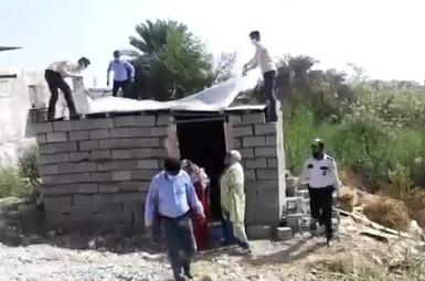 A poor family's shack being destroyed in southern Iran. November 19, 2020