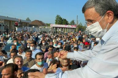 Mahmoud Ahmadinejad visiting a town in Fars Province. May 2021