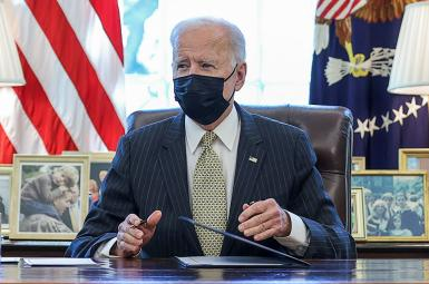 President Joe Biden speaks in the Oval Office at the White House. March 30, 2021.