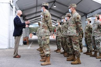 President Joe Biden addresses troops running a vaccination site in Houston. February 26, 2021