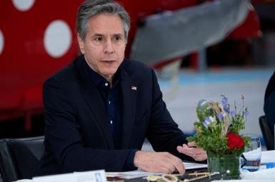 US Secretary of State Antony Blinken speaks during a press conference at in Greenland, May 20, 2021