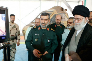 Amir Ali Hajizadeh, IRGC Aerospace commander and Supreme Leader Ali Khamenei. FILE PHOTO