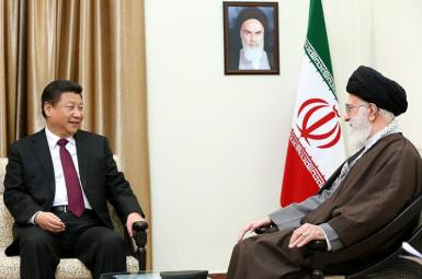 China President Xi Jinping meeting with Iran's Ali Khamenei in January 2016