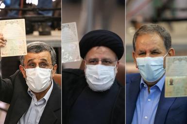 From L-R, Mahmoud Ahmadinejad, Ebrahim Raeesi and Es'haq Jahangiri