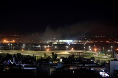 Smoke rising after a rocket attack near Erbil, Iraq. February 15, 2021
