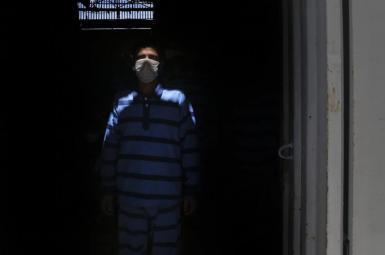 A political prisoner in an Iranian prison. Undated.