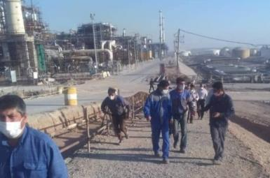 Striking workers in an oil refinery. Photo from social media. June 28, 2021