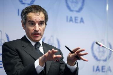 International Atomic Energy Agency (IAEA) Director General Rafael Grossi addresses the media at the IAEA headquarters. May 24, 2021