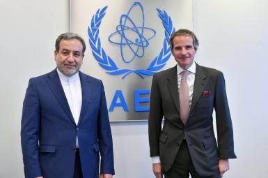 IAEA chief Rafael Mariano Grossi and Iran's nuclear negotiator Abbas Araghchi. April 8, 2021