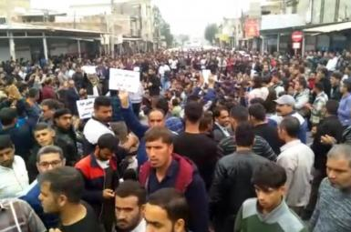Workers protesting in southwestern Iran in 2018.