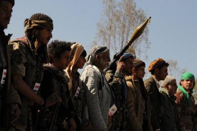 Houthi fighters in Yemen. Undated