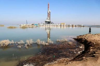 An oil installation in Hur Al Azim wetland. Undated