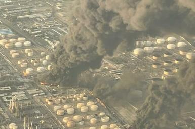 Aerial view of the Tehran refinery in flames. June 2. 2021