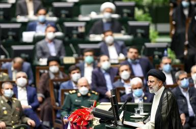 Ebrahin Raisi speaking during his inauguration in the Iranian parliament. August 5, 2021