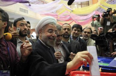 President Hassan Rouhani casting ballot in last presidential elections. FILE
