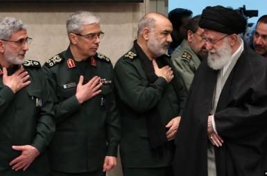 Iran's Supreme Leader Ali Khamenei greeting IRGC commanders. January 9, 2020