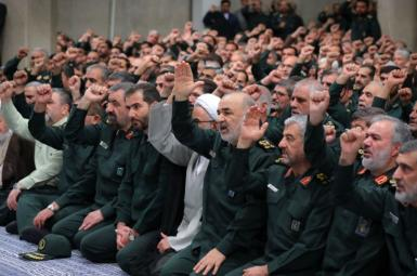 Iran's IRGC commanders in a gathering with Ali Khamenei. February 2020