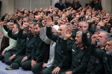 Iran's IRGC commanders in a gathering with Ali Khamenei. February 2020