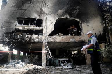 Civilian destruction in Israel by a missile fired from Gaza. May 13, 2021