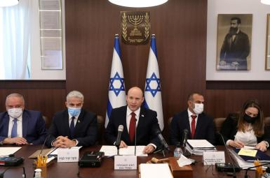Israeli Prime Minister Naftali Bennett attends the weekly cabinet meeting at the prime minister's office in Jerusalem August 1, 2021.