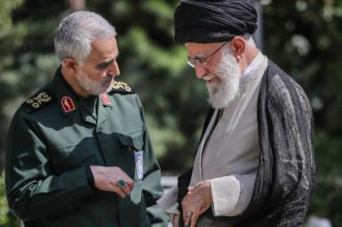 Undated photo of Iran's Supreme Leader Ali Khamenei and slain general Qasem Soleimani