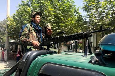 Taliban gunmen patrolling the streets of Kabul. August 16. 2021