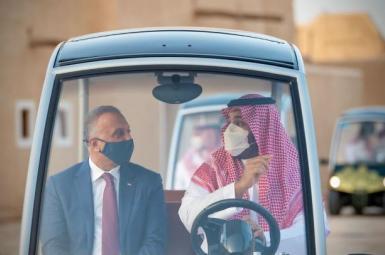Saudi Arabia's Crown Prince Mohammed bin Salman and Iraqi Prime Minister Mustafa Al-Kadhimi, March 31, 2021