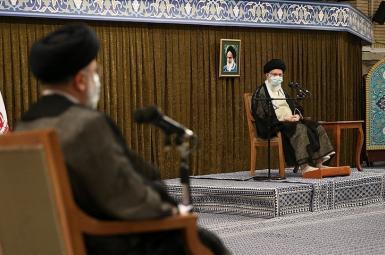 Iran's Supreme Leader Ali Khamenei delivering a speech. President-elect Raisi seen on the left. June 28, 2021