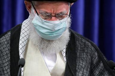 Iran's Supreme Leader Ali Khamenei delivering a brief speech on Qods Day. May 7, 2021